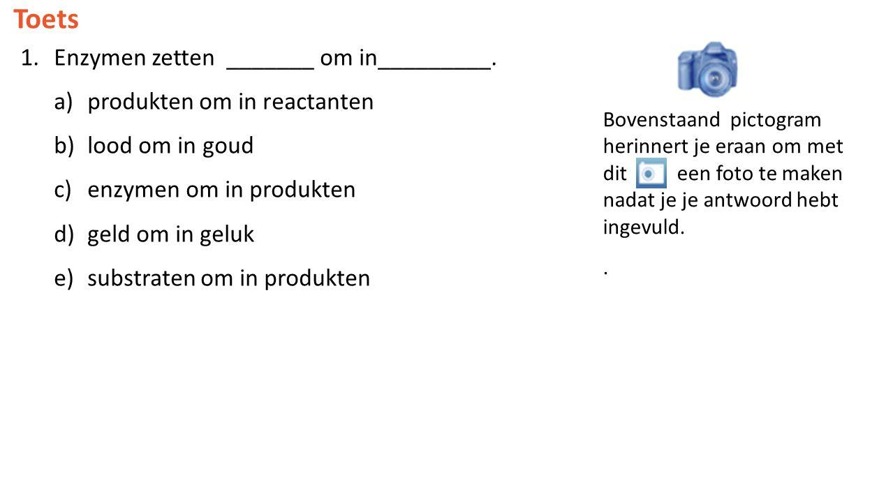Toets 1.Enzymen zetten _______ om in_________. a)produkten om in reactanten b)lood om in goud c)enzymen om in produkten d)geld om in geluk e)substrate