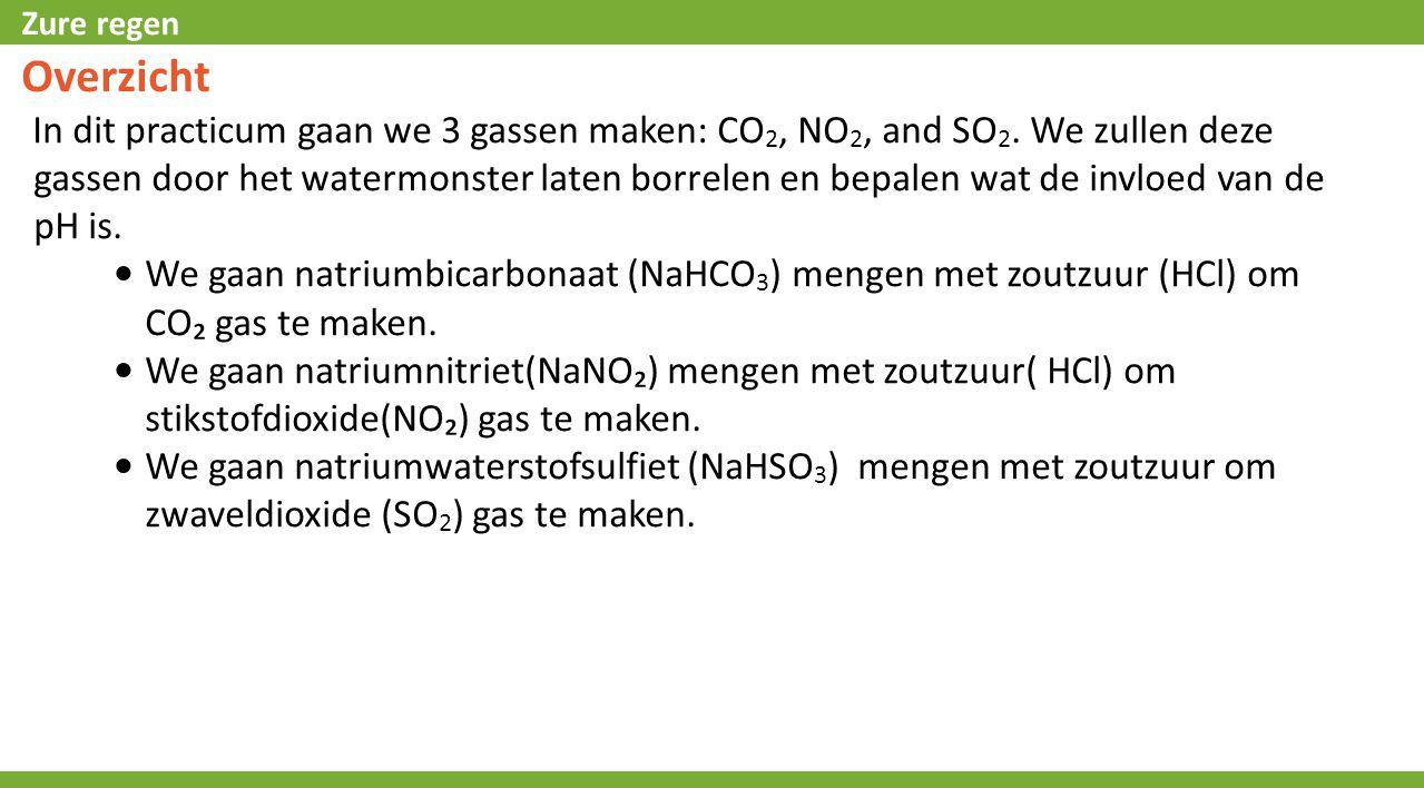 Zure regen Overzicht In dit practicum gaan we 3 gassen maken: CO 2, NO 2, and SO 2. We zullen deze gassen door het watermonster laten borrelen en bepa