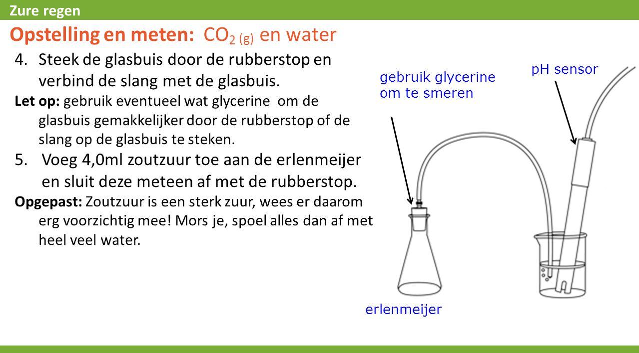 Zure regen Opstelling en meten: CO 2 (g) en water 4.Steek de glasbuis door de rubberstop en verbind de slang met de glasbuis. Let op: gebruik eventuee