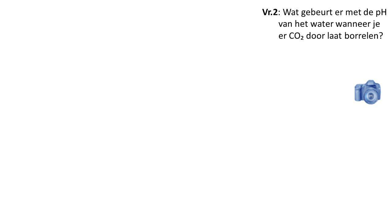 Vr.2: Wat gebeurt er met de pH van het water wanneer je er CO₂ door laat borrelen?