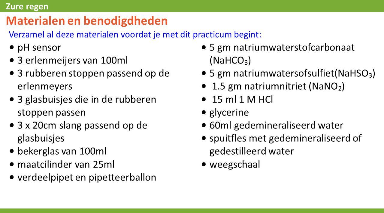 Zure regen Materialen en benodigdheden Verzamel al deze materialen voordat je met dit practicum begint: 5 gm natriumwaterstofcarbonaat (NaHCO 3 ) 5 gm natriumwatersofsulfiet(NaHSO 3 ) 1.5 gm natriumnitriet (NaNO 2 ) 15 ml 1 M HCl glycerine 60ml gedemineraliseerd water spuitfles met gedemineraliseerd of gedestilleerd water weegschaal pH sensor 3 erlenmeijers van 100ml 3 rubberen stoppen passend op de erlenmeyers 3 glasbuisjes die in de rubberen stoppen passen 3 x 20cm slang passend op de glasbuisjes bekerglas van 100ml maatcilinder van 25ml verdeelpipet en pipetteerballon