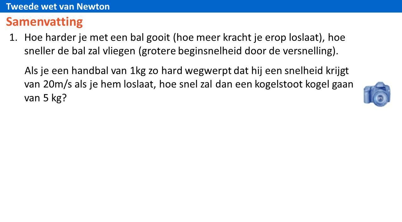 Tweede wet van Newton Samenvatting 1.Hoe harder je met een bal gooit (hoe meer kracht je erop loslaat), hoe sneller de bal zal vliegen (grotere begins