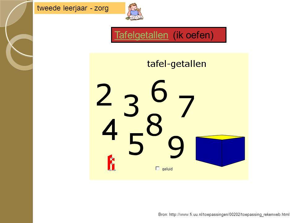 TafelgetallenTafelgetallen (ik oefen) tweede leerjaar - zorg Bron: http://www.fi.uu.nl/toepassingen/00202/toepassing_rekenweb.html