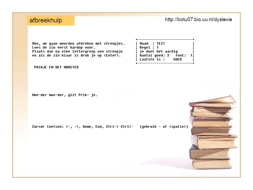 afbreekhulp http://botu07.bio.uu.nl/dyslexie