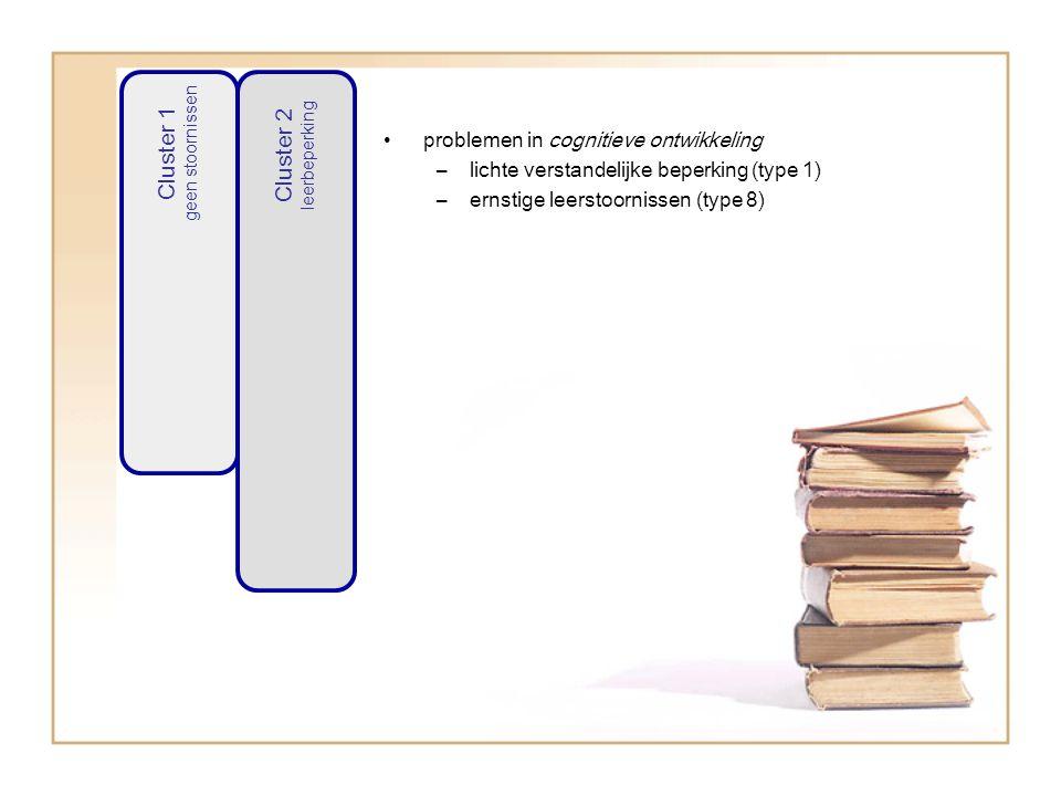 problemen in cognitieve ontwikkeling –lichte verstandelijke beperking (type 1) –ernstige leerstoornissen (type 8) Cluster 1 geen stoornissen Cluster 2 leerbeperking