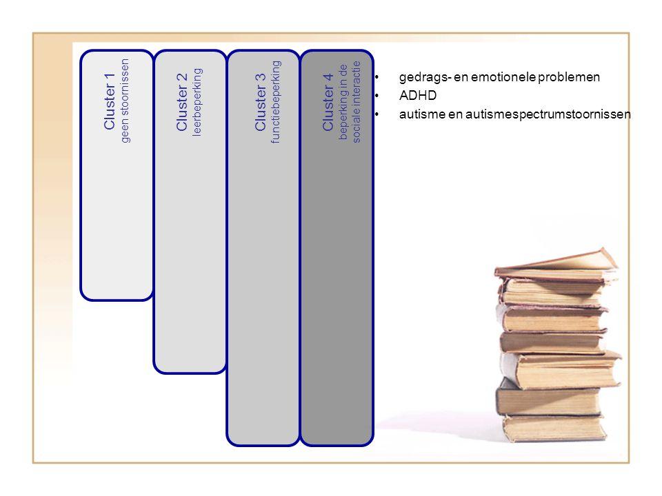 Cluster 1 geen stoornissen Cluster 2 leerbeperking Cluster 3 functiebeperking Cluster 4 beperking in de sociale interactie gedrags- en emotionele problemen ADHD autisme en autismespectrumstoornissen
