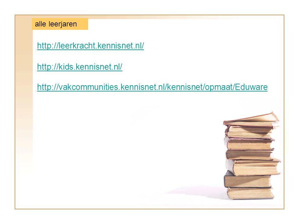 http://leerkracht.kennisnet.nl/ http://kids.kennisnet.nl/ alle leerjaren http://vakcommunities.kennisnet.nl/kennisnet/opmaat/Eduware