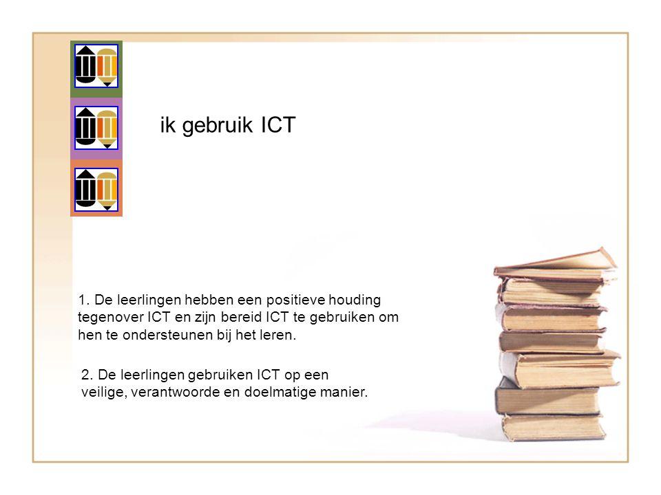 ik gebruik ICT 1. De leerlingen hebben een positieve houding tegenover ICT en zijn bereid ICT te gebruiken om hen te ondersteunen bij het leren. 2. De