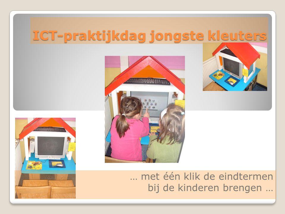 SEPTEMBER 2007 : ICT-EINDTERMEN= werken aan ICT-COMPETENTIES informatiecommunicatie (in) (be) oefenen twee richtingen (op) zoeken één richting ICT op een veilige, verantwoorde en doelmatige manier gebruiken (zelfstandig) oefenen in een door ICT ondersteunde leeromgeving een positieve houding tegenover ICT en bereid zijn ICT te gebruiken bij het leren (zelfstandig) leren in een door ICT ondersteunde leeromgeving ICT gebruiken om eigen ideeën creatief vorm te geven digitale informatie opzoeken, verwerken en bewaren ICT gebruiken bij het voorstellen van informatie aan anderen ICT gebruiken om te communiceren attitudevaardigheid kennis inzicht ervaringen 11 2 3 4 5 6 7