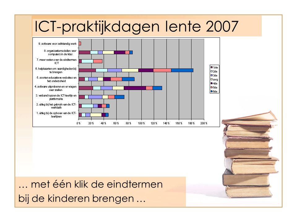 ICT-praktijkdagen lente 2007 … met één klik de eindtermen bij de kinderen brengen …