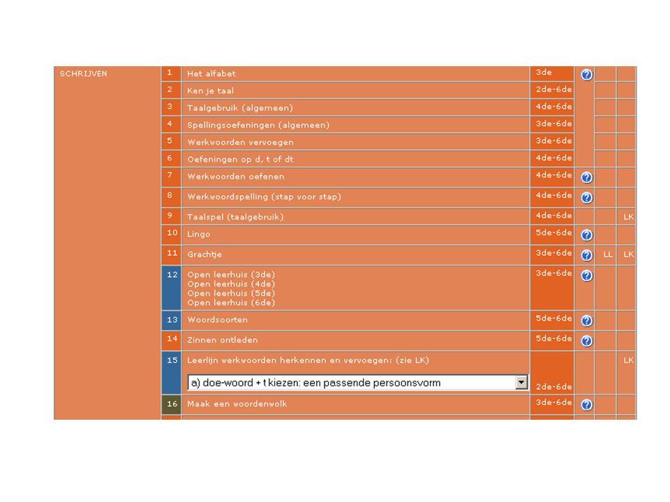 - aanvankelijk rekenen inoefenen - in- en aanzichten en berekening bij (ruimte)figuren - woordpakketten inoefenen - een tweetal muzische activiteiten - tafels leren - een presentatie bij een uitstap of bezoek - een tweetal webpaden bij een werothema - montage bij de verwerking van de openluchtklassen - een tekst schrijven en creatief vormgeven - informatie zoeken via google - een werothema voorstellen aan anderen - mijn gemeente in beeld brengen - Franse woordenschat verwerven - tijdsaanduidingen leren - virtuele verkenning in tijd en ruimte