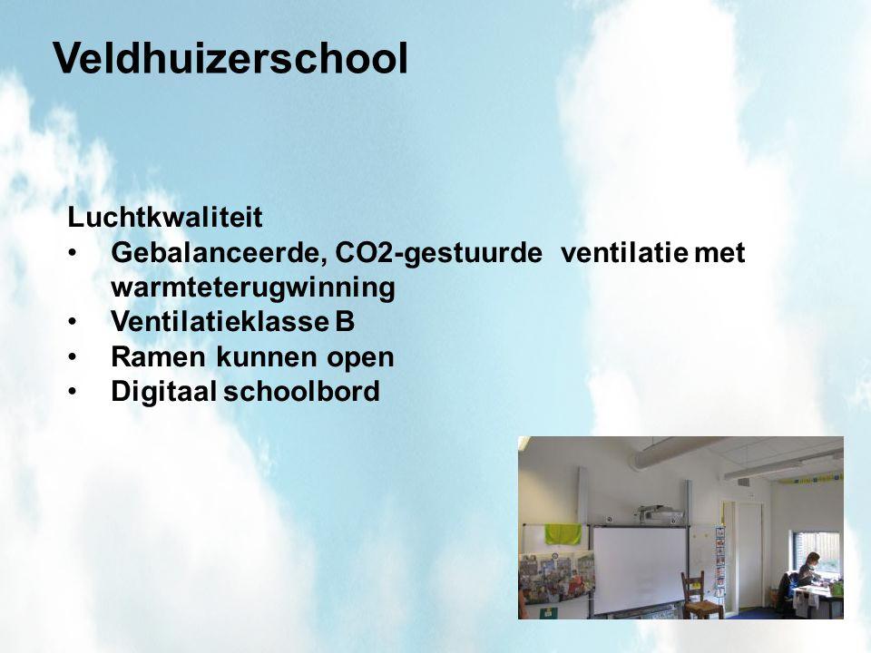 Veldhuizerschool Luchtkwaliteit Gebalanceerde, CO2-gestuurde ventilatie met warmteterugwinning Ventilatieklasse B Ramen kunnen open Digitaal schoolbord