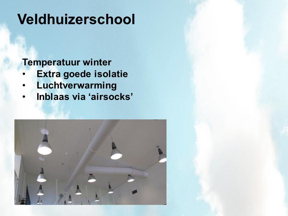 Veldhuizerschool Temperatuur winter Extra goede isolatie Luchtverwarming Inblaas via 'airsocks'