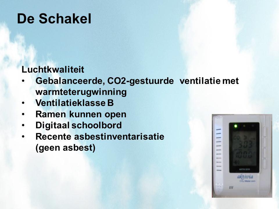 De Schakel Luchtkwaliteit Gebalanceerde, CO2-gestuurde ventilatie met warmteterugwinning Ventilatieklasse B Ramen kunnen open Digitaal schoolbord Recente asbestinventarisatie (geen asbest)