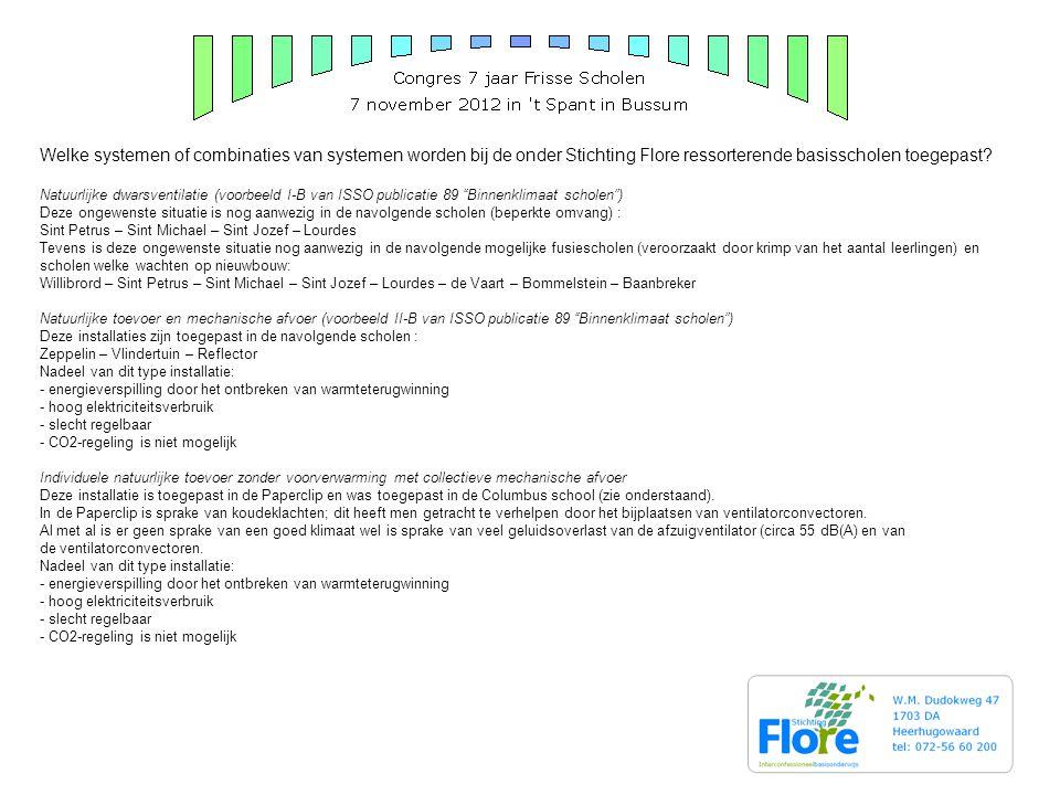 Welke systemen of combinaties van systemen worden bij de onder Stichting Flore ressorterende basisscholen toegepast.
