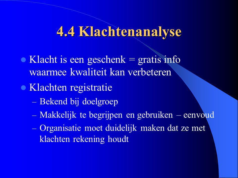 4.4 Klachtenanalyse Klacht is een geschenk = gratis info waarmee kwaliteit kan verbeteren Klachten registratie – Bekend bij doelgroep – Makkelijk te b