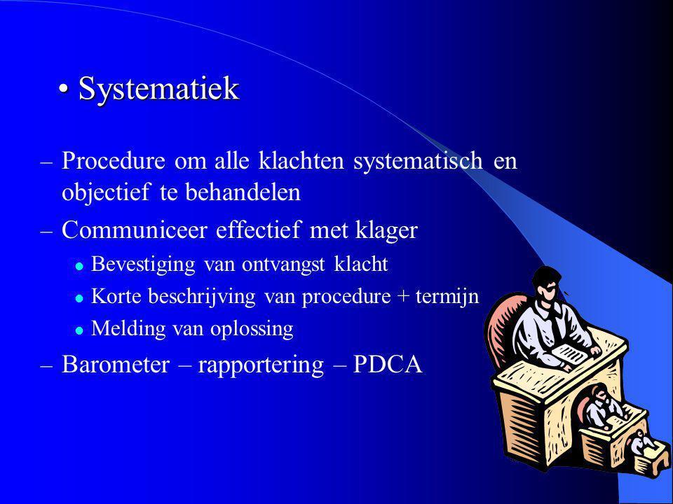 Systematiek Systematiek – Procedure om alle klachten systematisch en objectief te behandelen – Communiceer effectief met klager Bevestiging van ontvan
