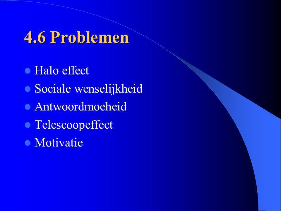 4.6 Problemen Halo effect Sociale wenselijkheid Antwoordmoeheid Telescoopeffect Motivatie
