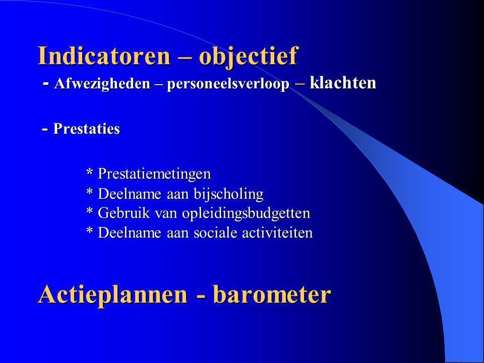 Indicatoren – objectief - Afwezigheden – personeelsverloop – klachten - Prestaties * Prestatiemetingen * Deelname aan bijscholing * Gebruik van opleid