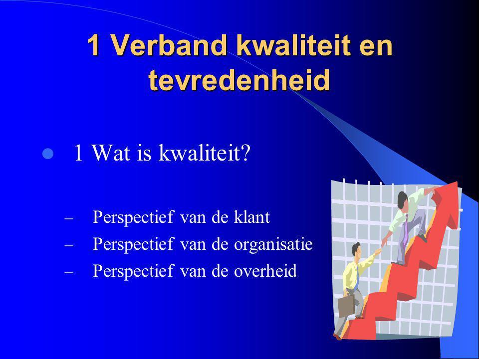 1 Verband kwaliteit en tevredenheid 1 Wat is kwaliteit? – Perspectief van de klant – Perspectief van de organisatie – Perspectief van de overheid