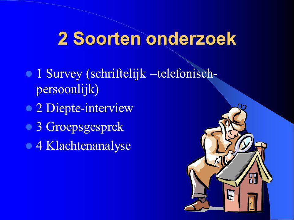 2 Soorten onderzoek 1 Survey (schriftelijk –telefonisch- persoonlijk) 2 Diepte-interview 3 Groepsgesprek 4 Klachtenanalyse