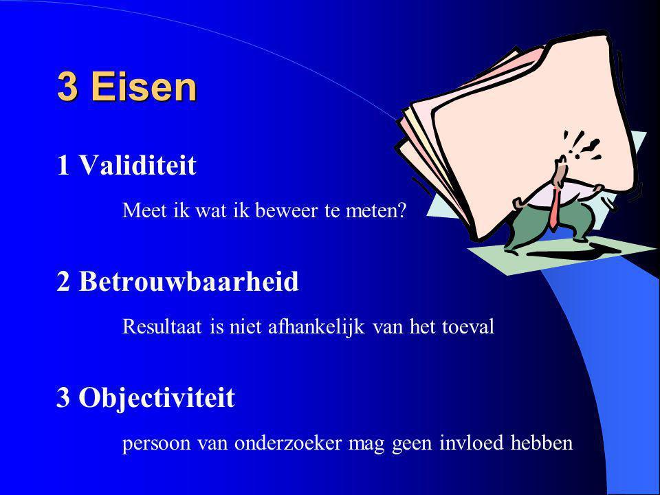 3 Eisen 1 Validiteit Meet ik wat ik beweer te meten? 2 Betrouwbaarheid Resultaat is niet afhankelijk van het toeval 3 Objectiviteit persoon van onderz