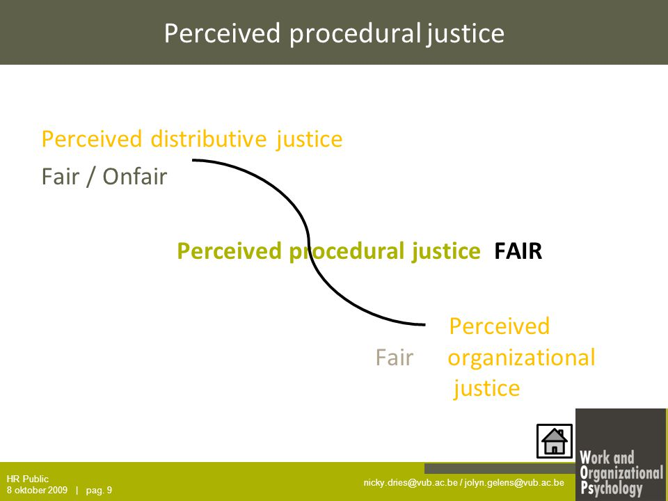 nicky.dries@vub.ac.be / jolyn.gelens@vub.ac.be Perceived procedural justice Perceived distributive justice Fair / Onfair Perceived procedural justice FAIR Perceived Fair organizational justice HR Public 8 oktober 2009 | pag.