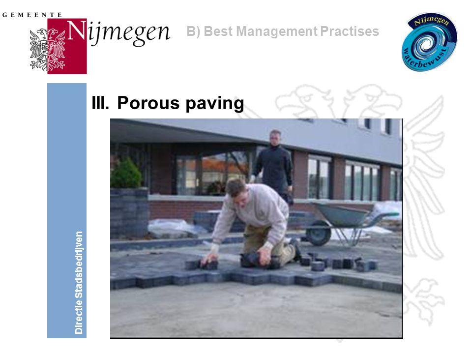 Directie Stadsbedrijven III. Porous paving B) Best Management Practises