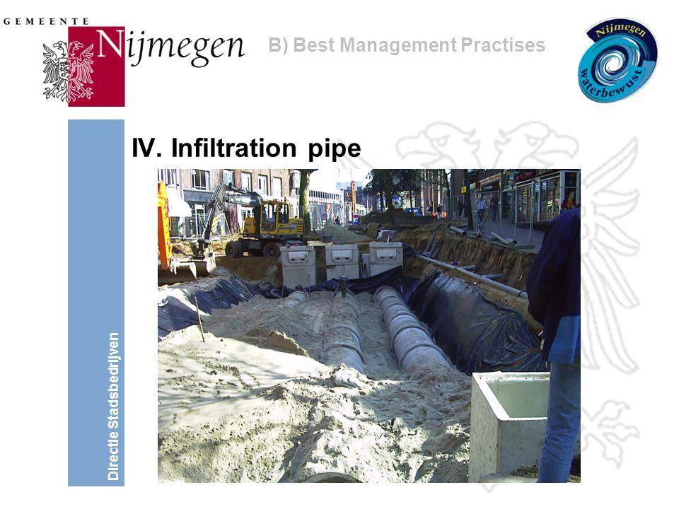 Directie Stadsbedrijven IV. Infiltration pipe B) Best Management Practises