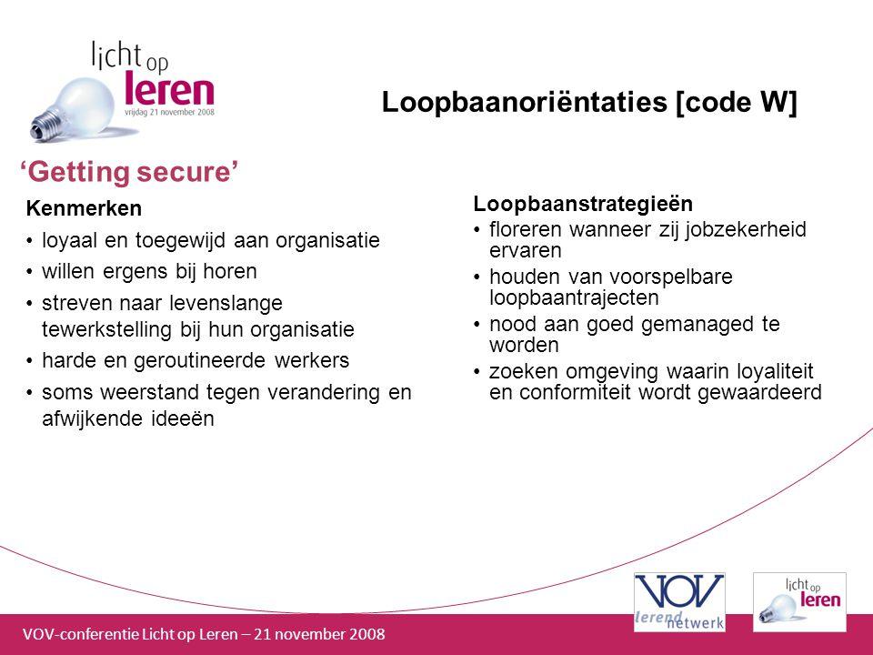 VOV-conferentie Licht op Leren – 21 november 2008 Loopbaanoriëntaties [code W] Kenmerken loyaal en toegewijd aan organisatie willen ergens bij horen s