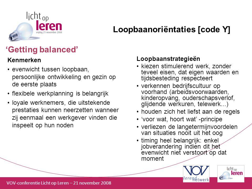 VOV-conferentie Licht op Leren – 21 november 2008 Loopbaanoriëntaties [code Y] Kenmerken evenwicht tussen loopbaan, persoonlijke ontwikkeling en gezin