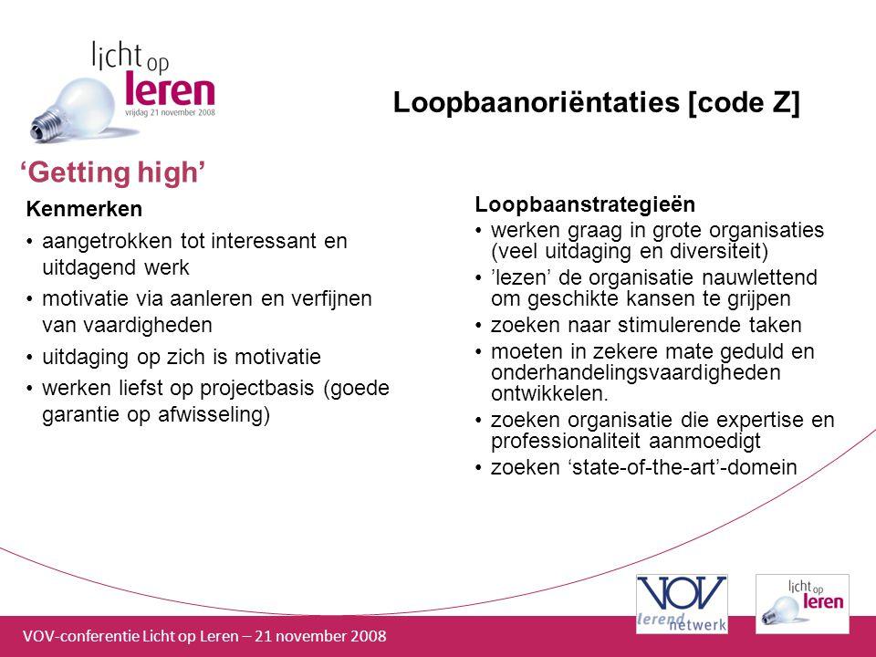 VOV-conferentie Licht op Leren – 21 november 2008 Loopbaanoriëntaties [code Z] Kenmerken aangetrokken tot interessant en uitdagend werk motivatie via