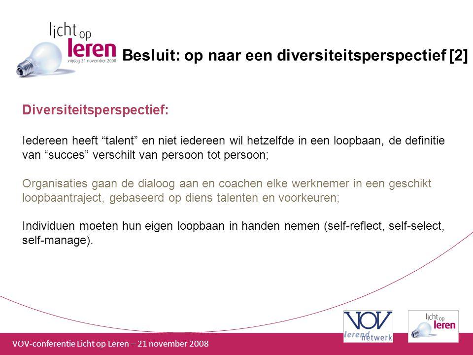 """VOV-conferentie Licht op Leren – 21 november 2008 Besluit: op naar een diversiteitsperspectief [2] Diversiteitsperspectief: Iedereen heeft """"talent"""" en"""