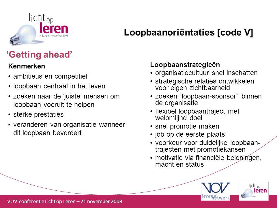 VOV-conferentie Licht op Leren – 21 november 2008 Loopbaanoriëntaties [code V] Kenmerken ambitieus en competitief loopbaan centraal in het leven zoeke