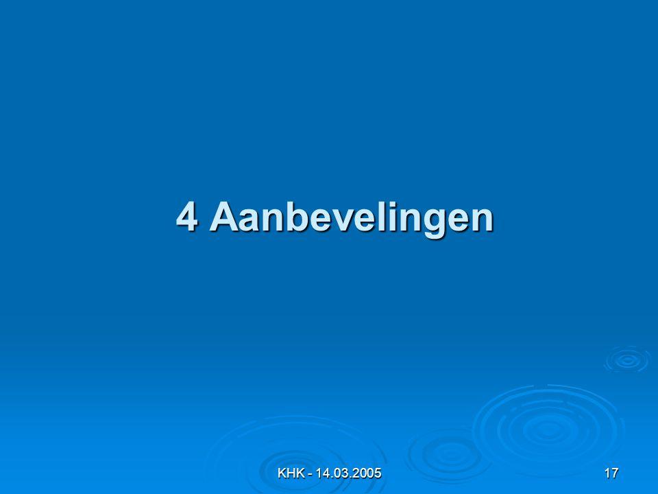 KHK - 14.03.200517 4 Aanbevelingen