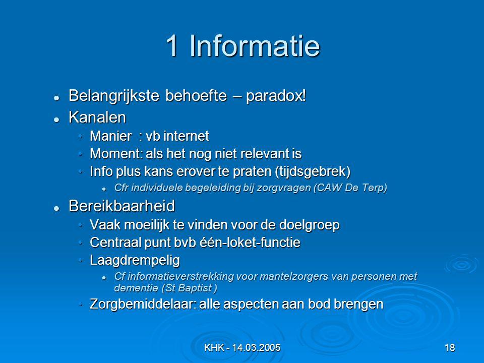 KHK - 14.03.200518 1 Informatie Belangrijkste behoefte – paradox.