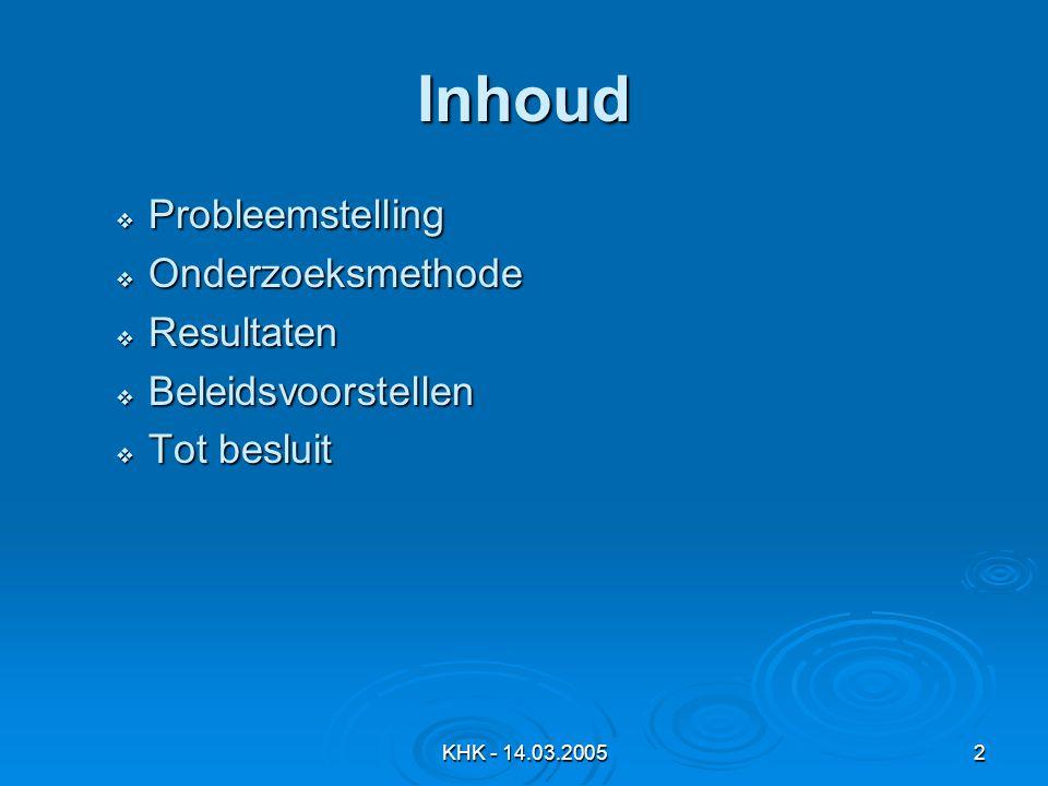 KHK - 14.03.20052 Inhoud  Probleemstelling  Onderzoeksmethode  Resultaten  Beleidsvoorstellen  Tot besluit