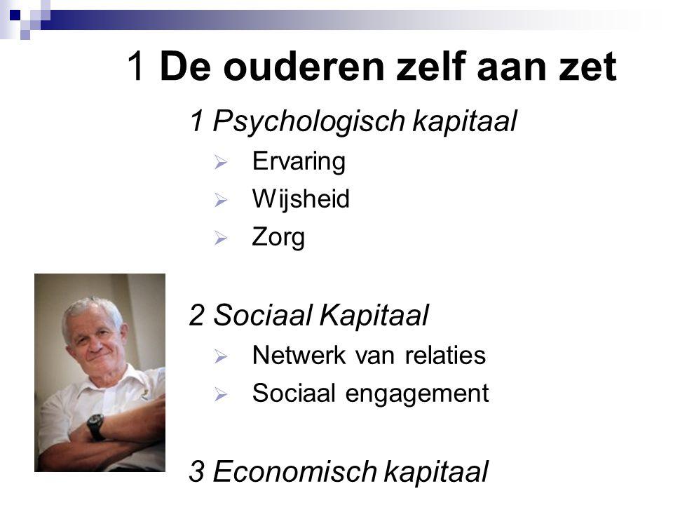 1 De ouderen zelf aan zet 1 Psychologisch kapitaal  Ervaring  Wijsheid  Zorg 2 Sociaal Kapitaal  Netwerk van relaties  Sociaal engagement 3 Econo