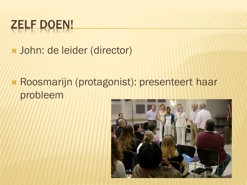  John: de leider (director)  Roosmarijn (protagonist): presenteert haar probleem