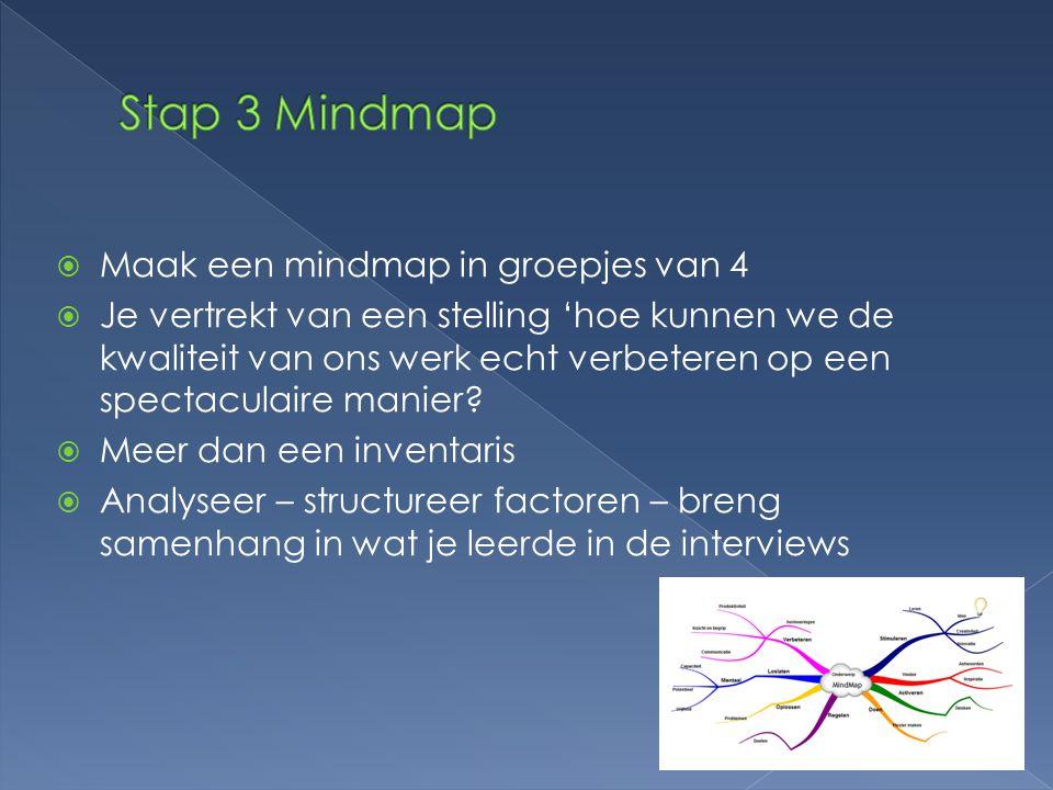  Maak een mindmap in groepjes van 4  Je vertrekt van een stelling 'hoe kunnen we de kwaliteit van ons werk echt verbeteren op een spectaculaire manier.