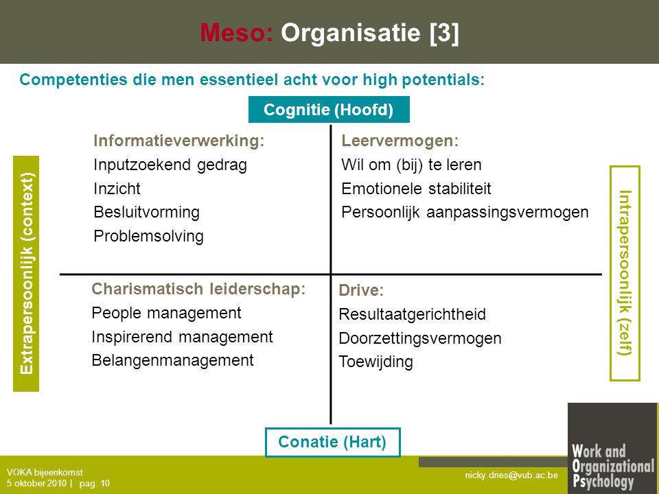nicky.dries@vub.ac.be VOKA bijeenkomst 5 oktober 2010   pag. 10 Charismatisch leiderschap: People management Inspirerend management Belangenmanagement