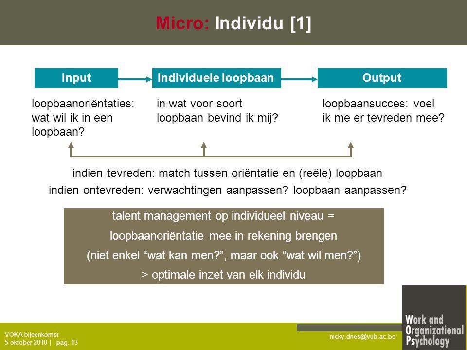 nicky.dries@vub.ac.be VOKA bijeenkomst 5 oktober 2010   pag. 13 Micro: Individu [1] InputIndividuele loopbaanOutput loopbaanoriëntaties: wat wil ik in