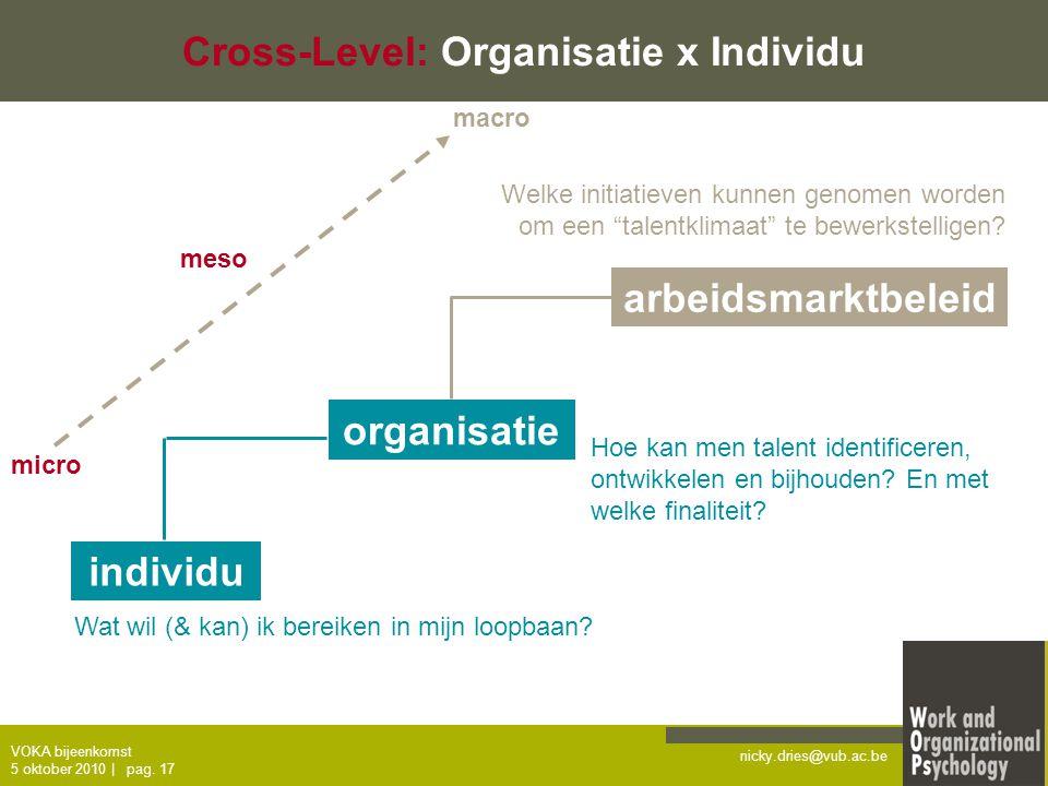 nicky.dries@vub.ac.be VOKA bijeenkomst 5 oktober 2010   pag. 17 Cross-Level: Organisatie x Individu individu organisatie arbeidsmarktbeleid Wat wil (&