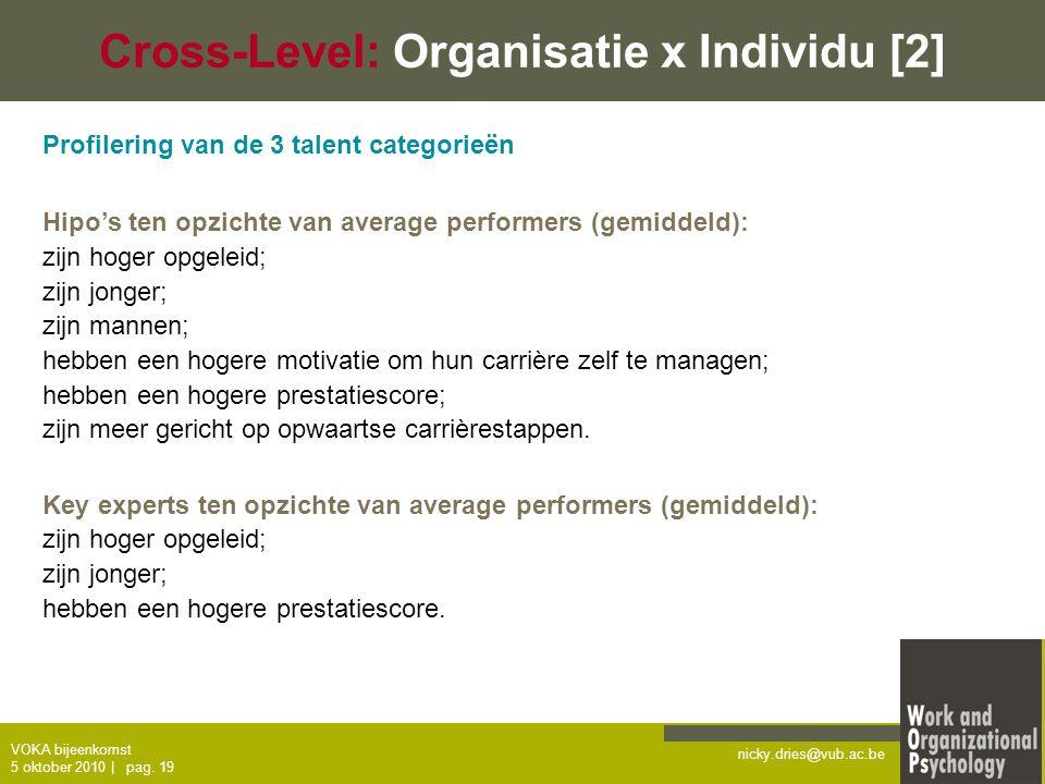 nicky.dries@vub.ac.be VOKA bijeenkomst 5 oktober 2010   pag. 19 Cross-Level: Organisatie x Individu [2] Profilering van de 3 talent categorieën Hipo's