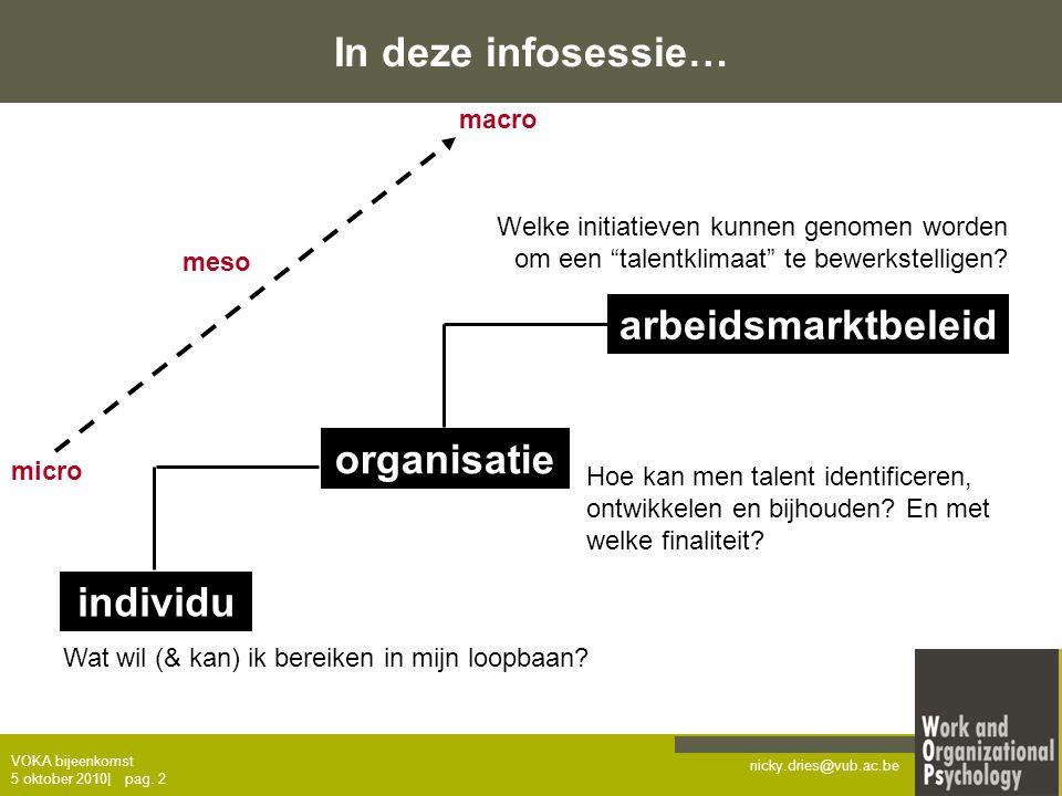 nicky.dries@vub.ac.be VOKA bijeenkomst 5 oktober 2010  pag. 2 In deze infosessie… individu organisatie arbeidsmarktbeleid Wat wil (& kan) ik bereiken