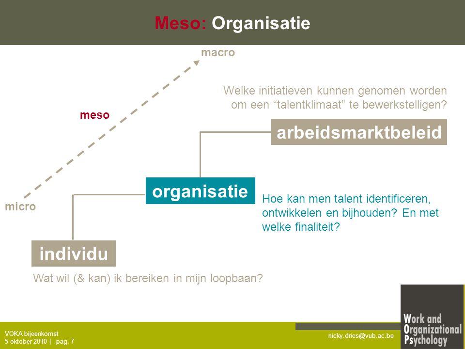 nicky.dries@vub.ac.be VOKA bijeenkomst 5 oktober 2010   pag. 7 Meso: Organisatie individu organisatie arbeidsmarktbeleid Wat wil (& kan) ik bereiken i