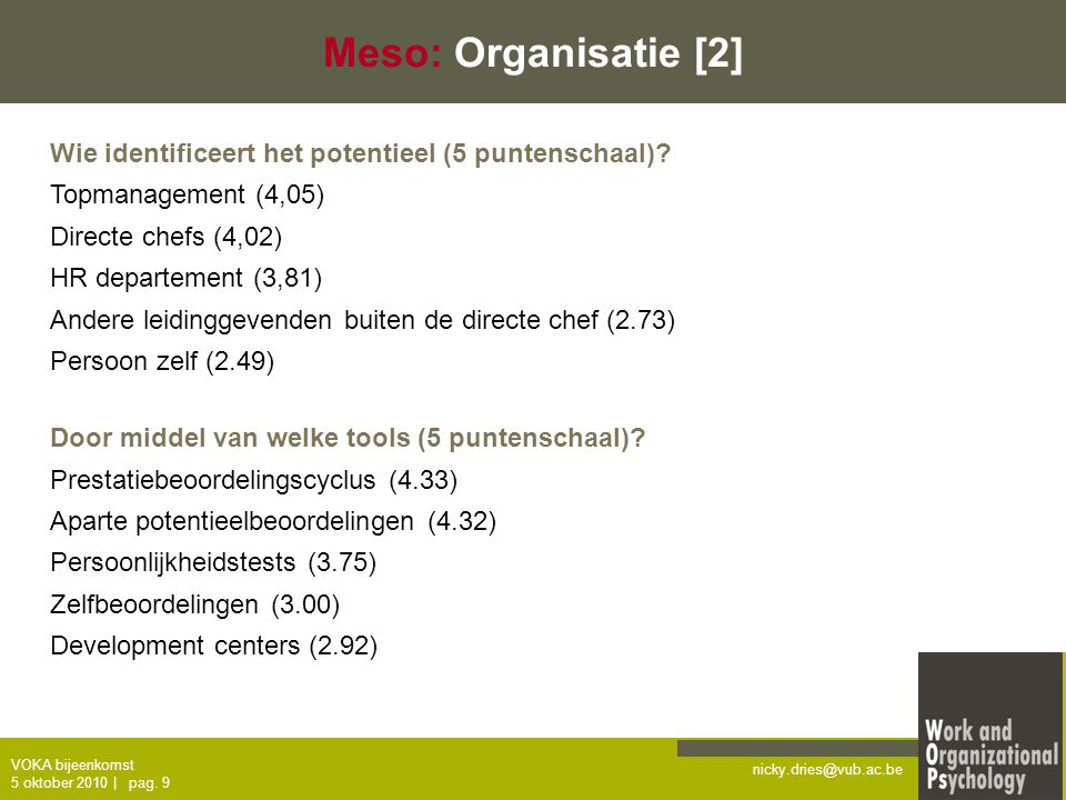 nicky.dries@vub.ac.be VOKA bijeenkomst 5 oktober 2010   pag. 9 Meso: Organisatie [2] Wie identificeert het potentieel (5 puntenschaal)? Topmanagement