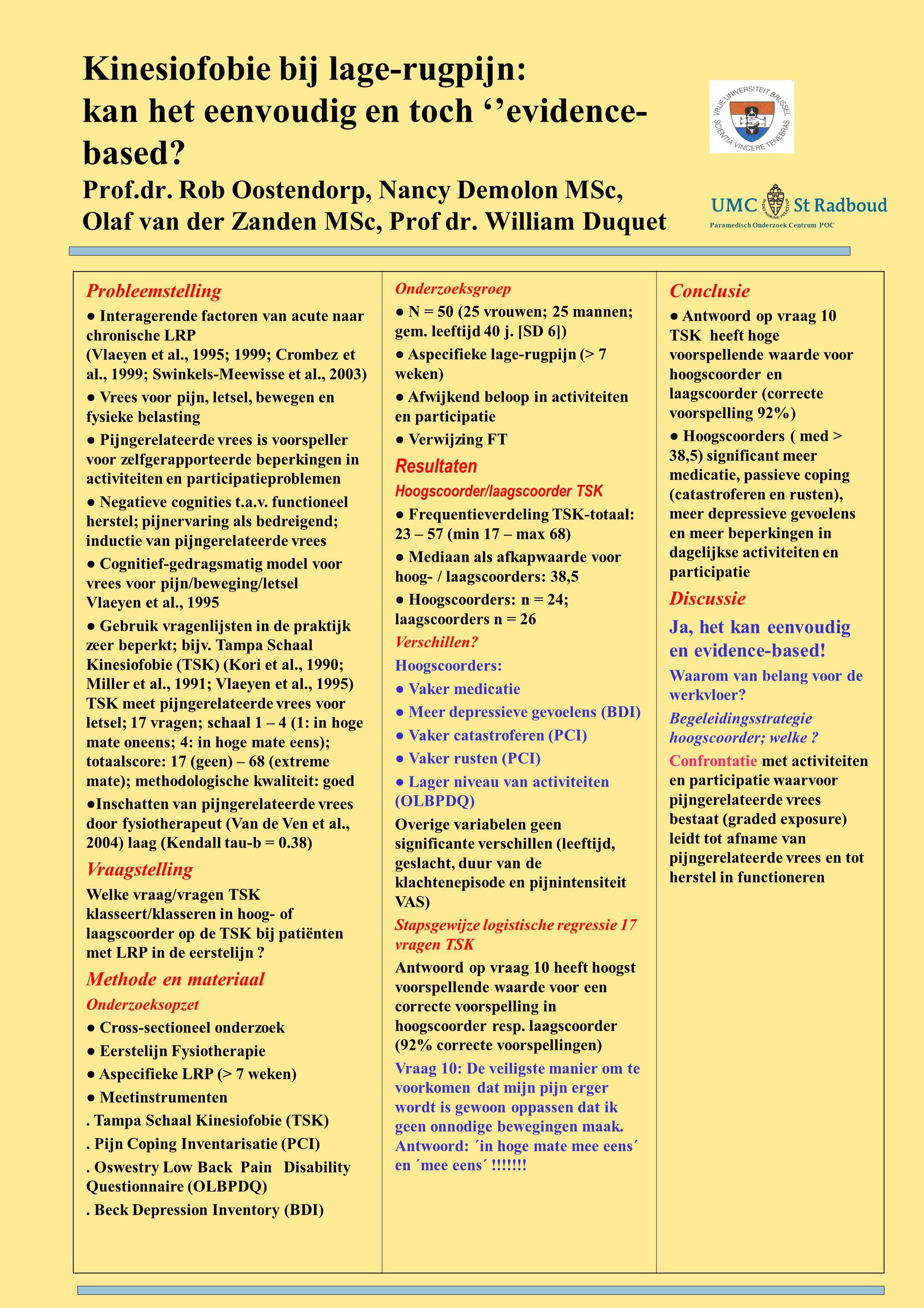 Kinesiofobie bij lage-rugpijn: kan het eenvoudig en toch ''evidence- based.