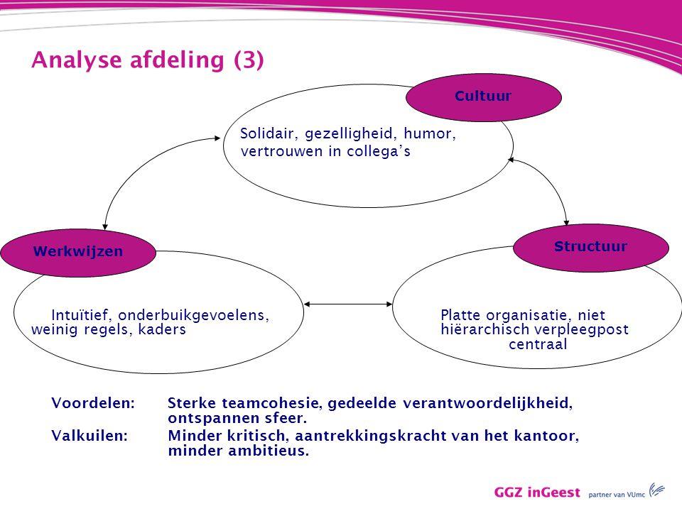 Analyse afdeling (3) Solidair, gezelligheid, humor, vertrouwen in collega's Intuïtief, onderbuikgevoelens,Platte organisatie, niet weinig regels, kade