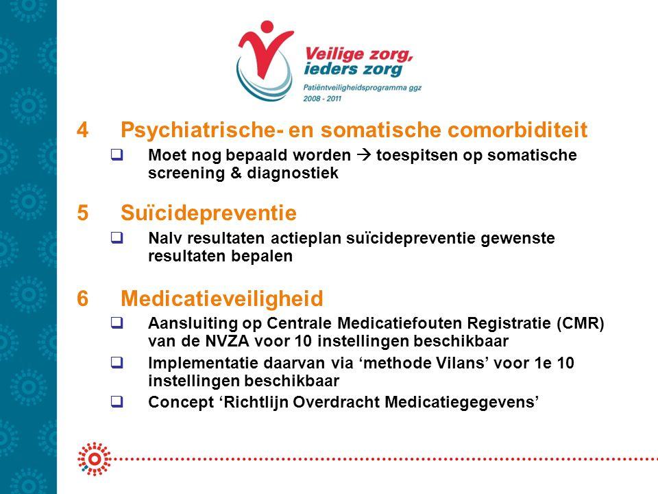 4Psychiatrische- en somatische comorbiditeit  Moet nog bepaald worden  toespitsen op somatische screening & diagnostiek 5Suïcidepreventie  Nalv res
